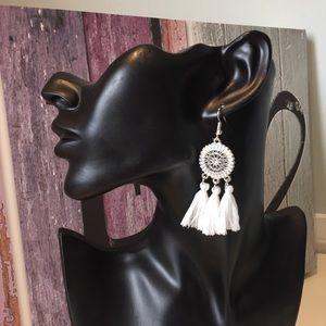 Jewelry - New White Tassel Boho Earrings